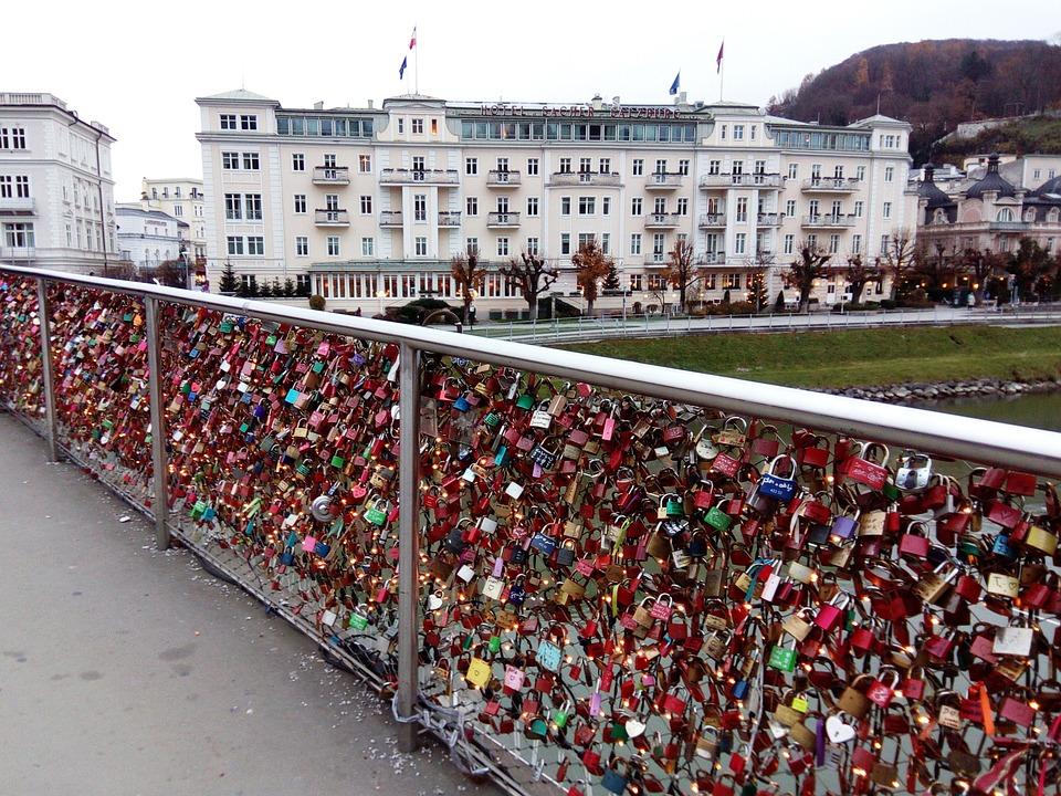 Locks, Castle, Bridge, Austria, Salzburg