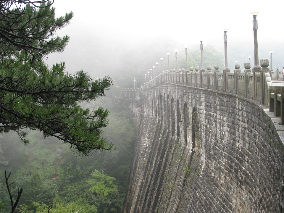 Lushan, Bridge, Pine, Fog, China