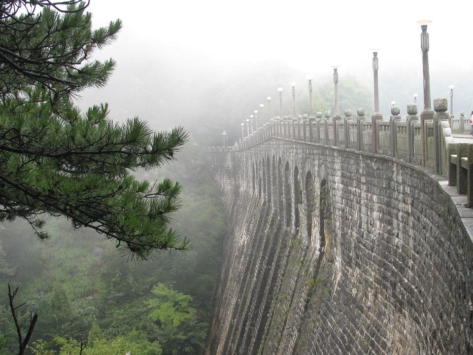 Lushan, Bridge, Pine, Fog, China