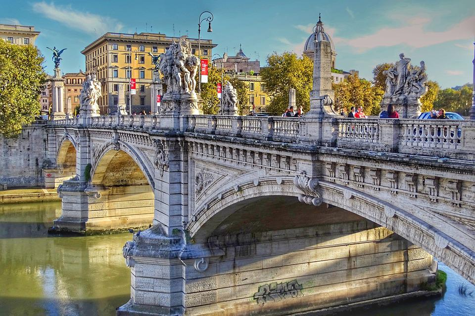 Architecture, Travel, Bridge, City, River, Italy, Rome