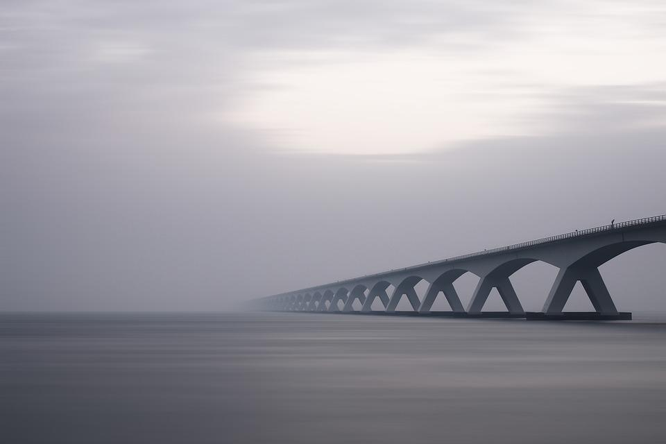 Arches, Bridge, Dawn, Engineering, Fog, Lake, Landscape