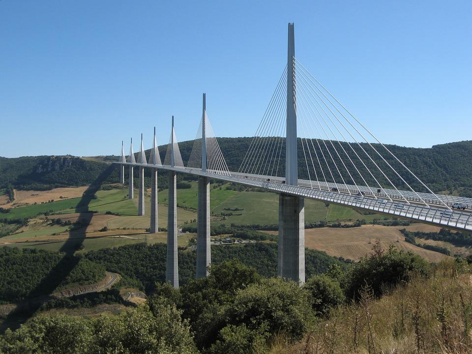 Viaduct, Millau, France, Bridge, Cables, Tarn River