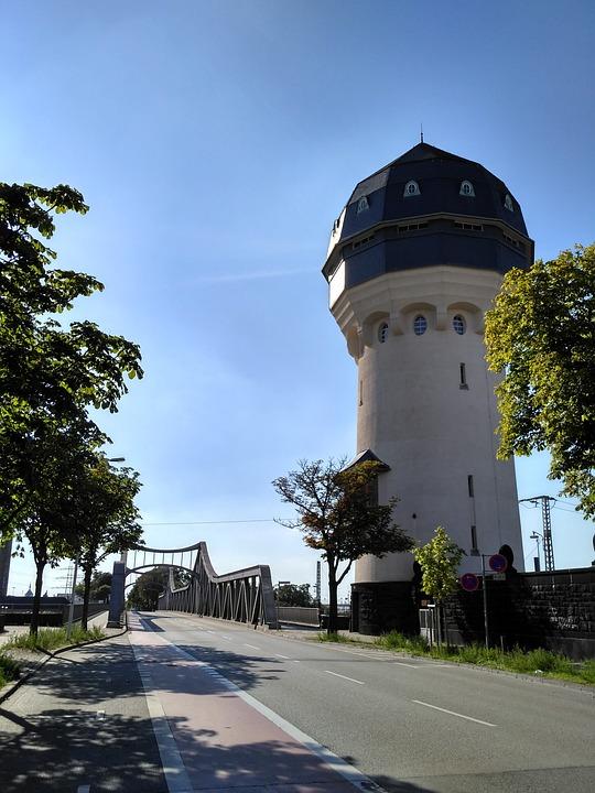Darmstadt, Hesse, Germany, Water Tower, Bridge