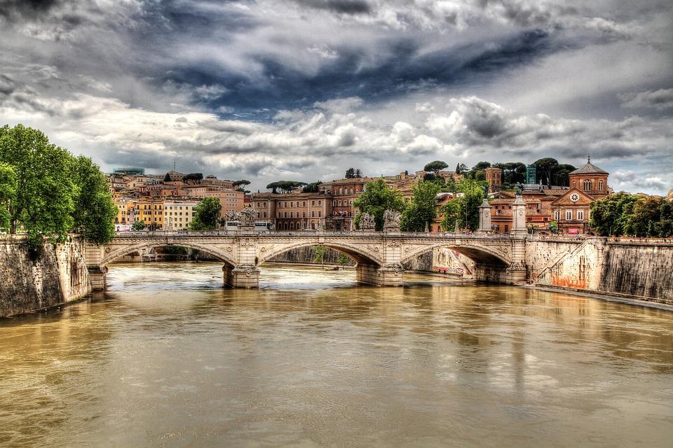 Rome, Tiber, Bridge, Hdr