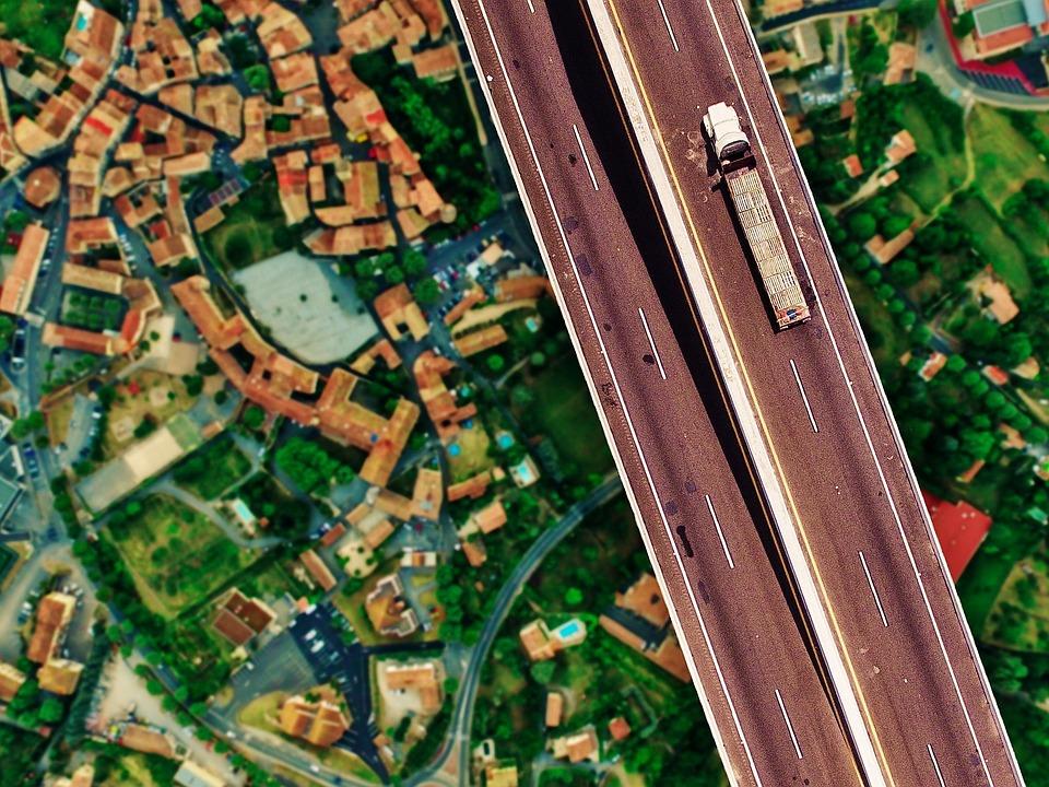 Highway, Truck, Traffic, Bridge, Height, Staggering