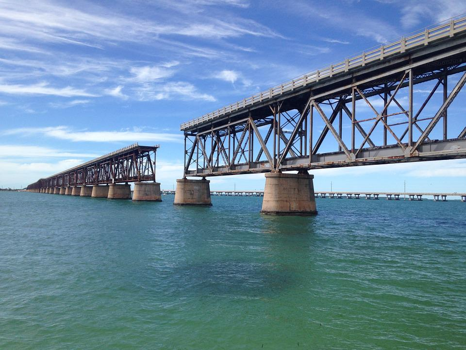 Bridge, Sea, Sky, Florida, Key West, Railway, America