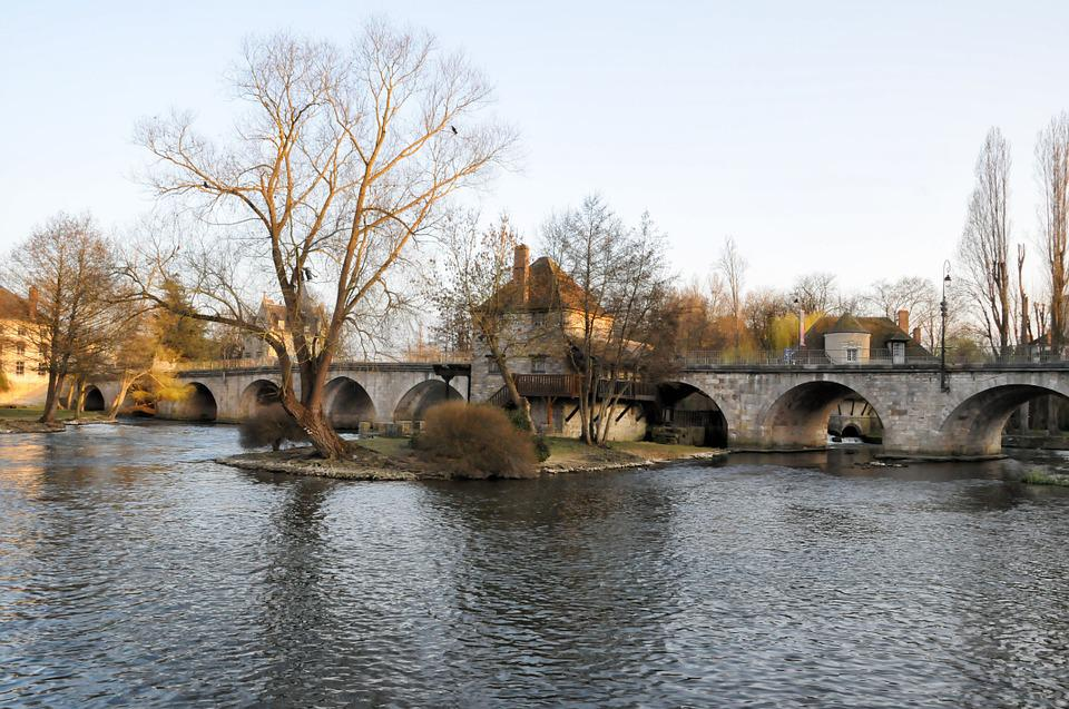 Bridge, Moret-sur-loing, France, Landscape, Old Village