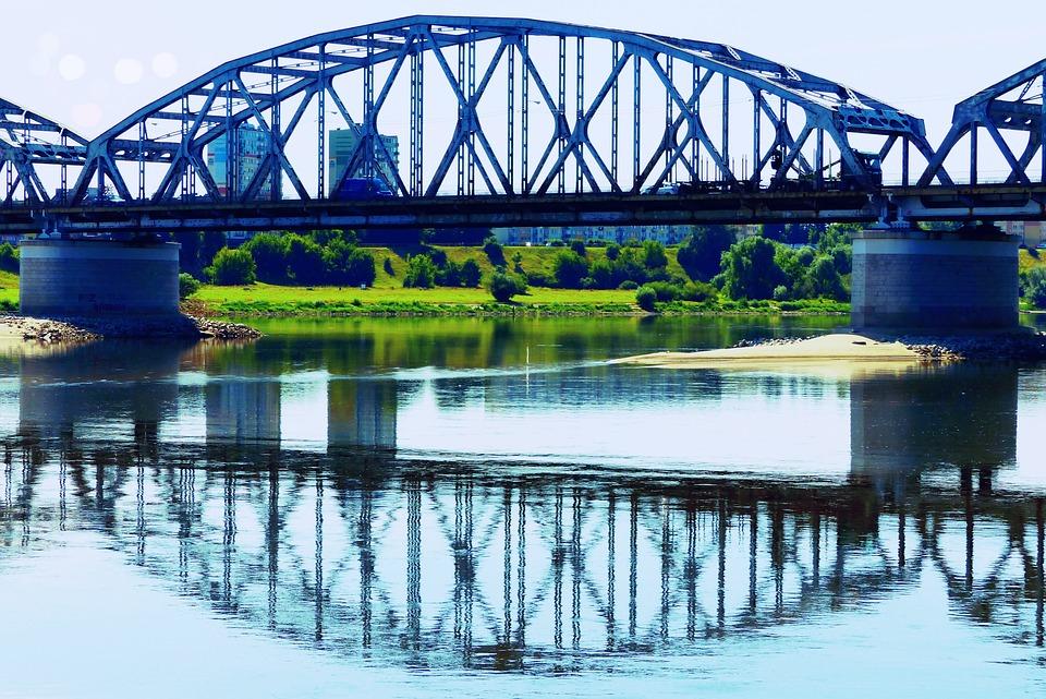 Landscape, River, Wisla, Bridge, Reflection, Grudziadz