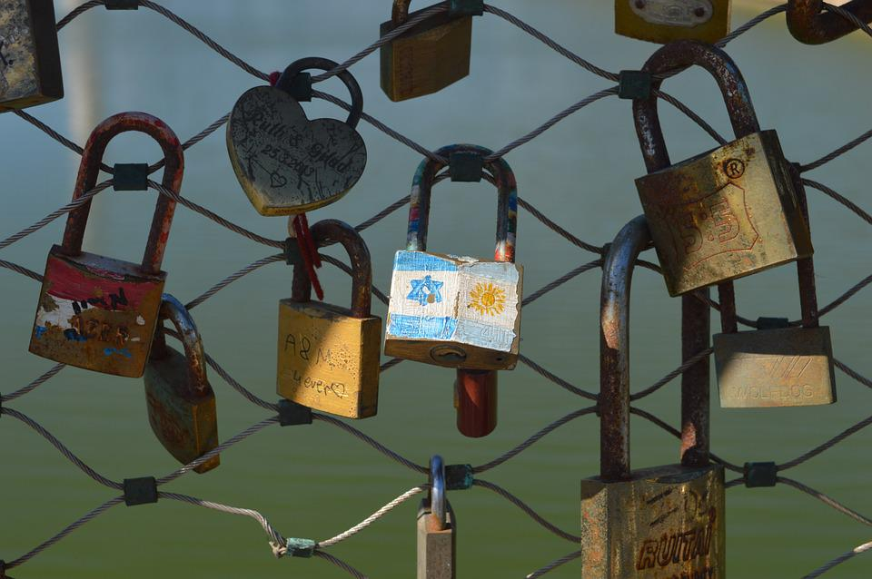 Lock, Clasps, Bridge, Padlock, Love, In Love, Bunch