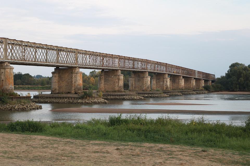 Loire, France, Bridge, Metal Bridge, Shoals, Old