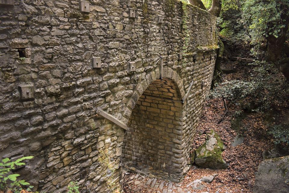 Bridge, Old, Stone, Architecture, Milies, Greece