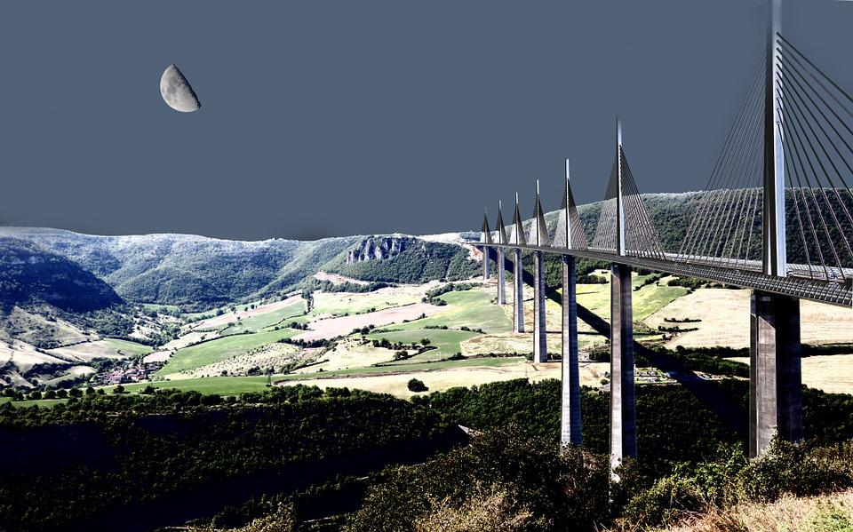 Millau, Bridge, Night France, Night, Moonlight