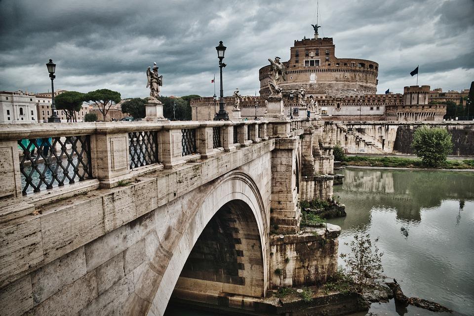 Bridge, River, Castel Sant'angelo, Landmark, Monument