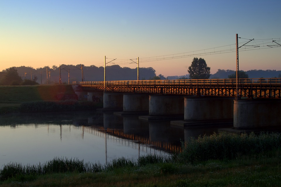 The Viaduct, Bridge, Railway, Morning, Opole, Channel