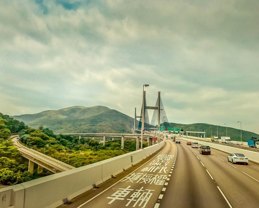 Bridge, Highway, Sky, Mountain, Road, Traffic, Concrete