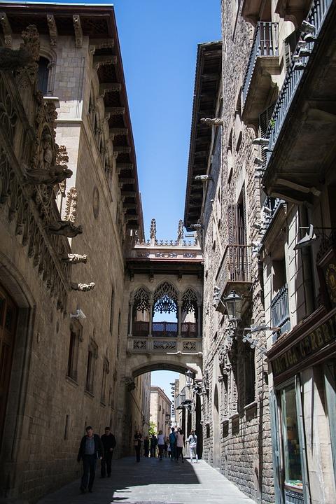 Narrow Street, Architecture, Barcelona, City, Bridge