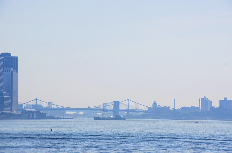 New York, Manhattan, Hudson, River, Bridge, Ship, Water