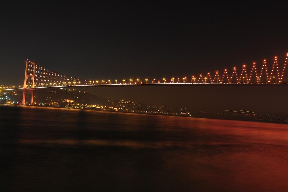 Bosphorus Bridge, Bridge, Night, Lights, City