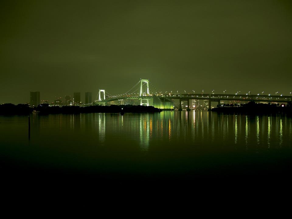 Night View, Bridge, Light, Night, Light Up, City, Sea
