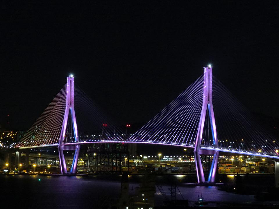 Bridge, Night View, Bridge Illumination, Sea