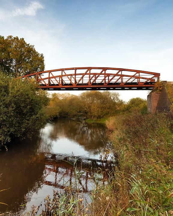 Old, Steel, Arch, Bridge, Godenstedt, Zeven, North
