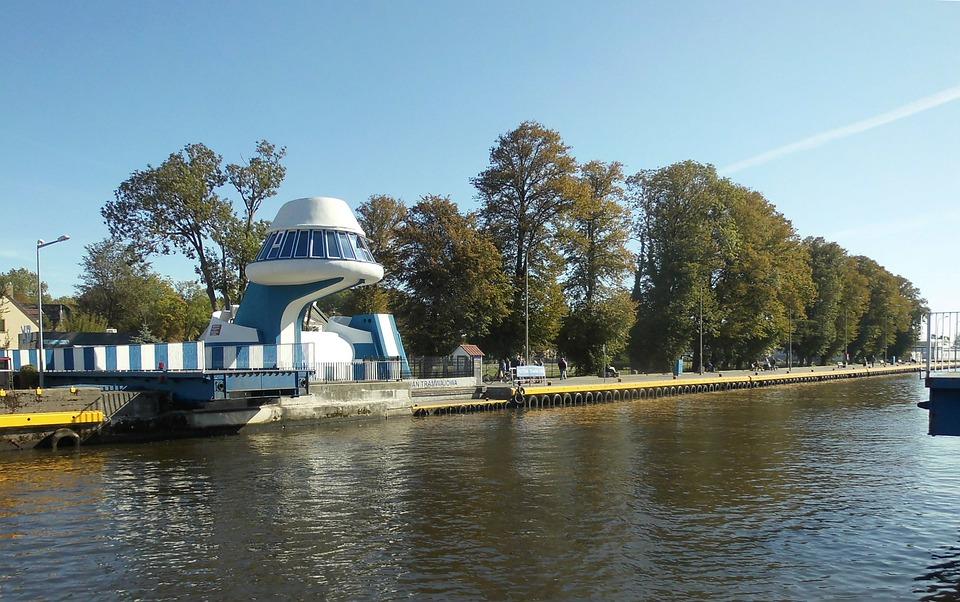 Poland, Darlowo, Bridge, Open, The River Channel