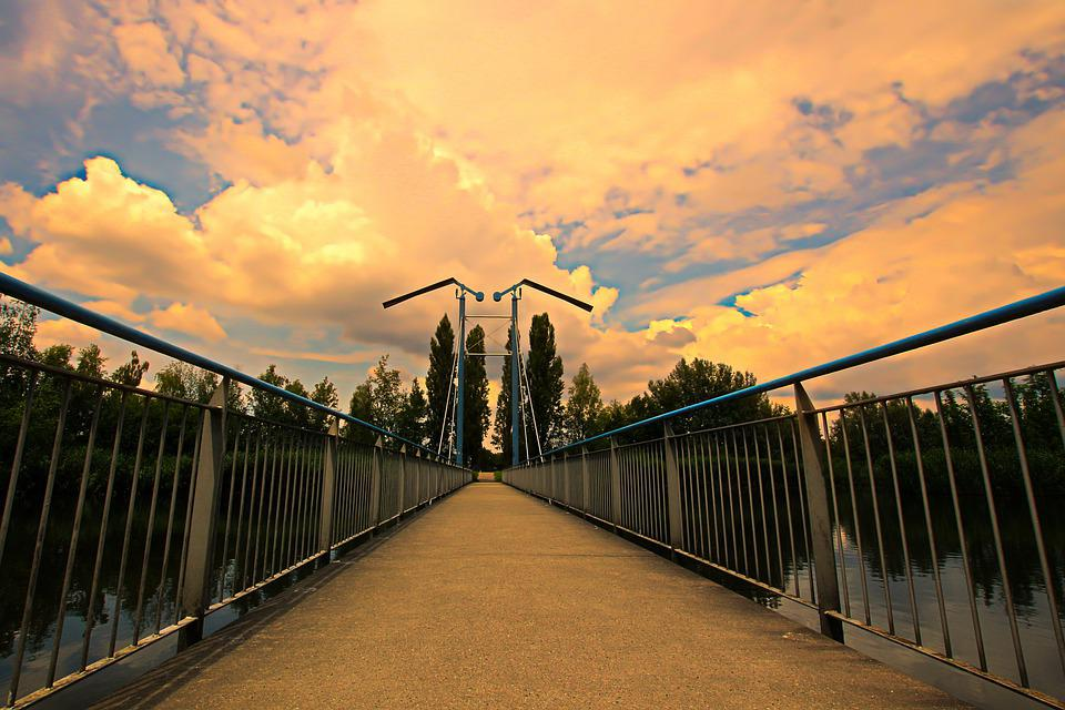 Bridge, Sunset, Dusk, Outdoors, Sunrise, River, Sky