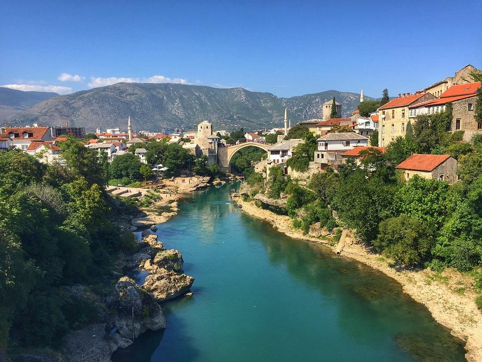 Outlook, River, City, Bridge, Bosnia, Mostar