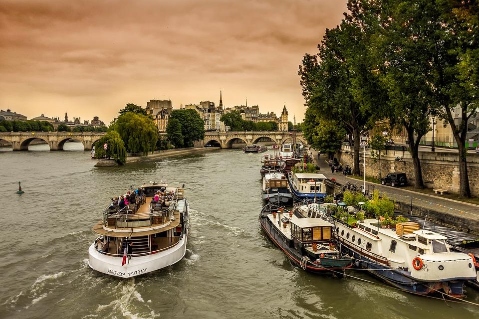 Paris, Seine, Peniche, City, Perspective, Bridge, Boat