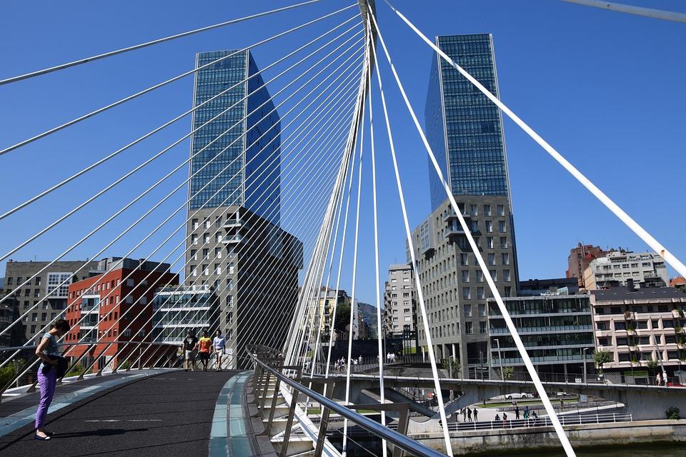 Bilbao, Zubizuri, Bridge, Spain, Places Of Interest
