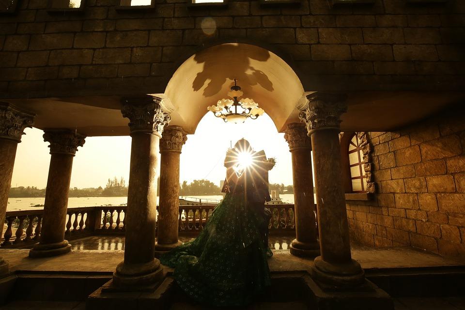 Sunset, Castle, Bridge, Prague, Night, Couple
