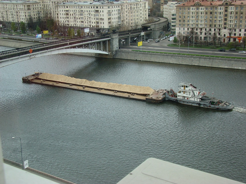 River, Quay, The Moscow River, Barge, Bridge