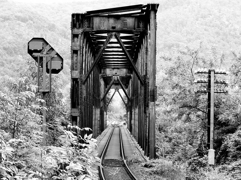 Black And White, Railway Bridge, Railway, Bridge