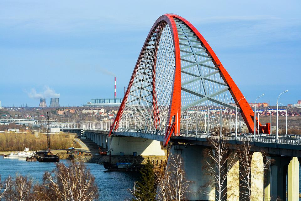 Bridge, Water, Architecture, Sky, River, Novosibirsk