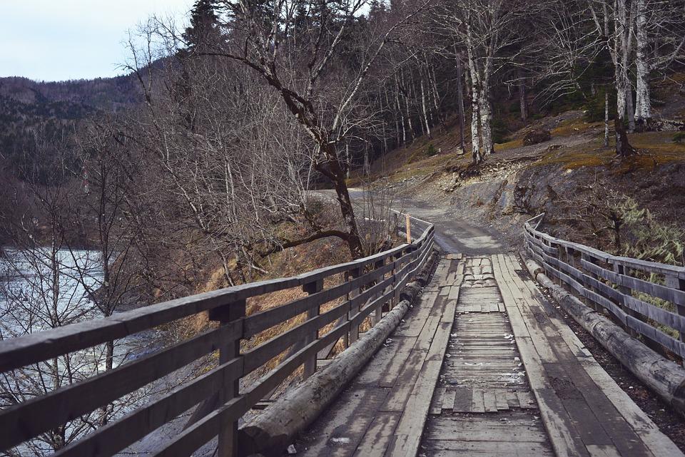 Old, Bridge, River, Mountains, Trees, Nature, Sky