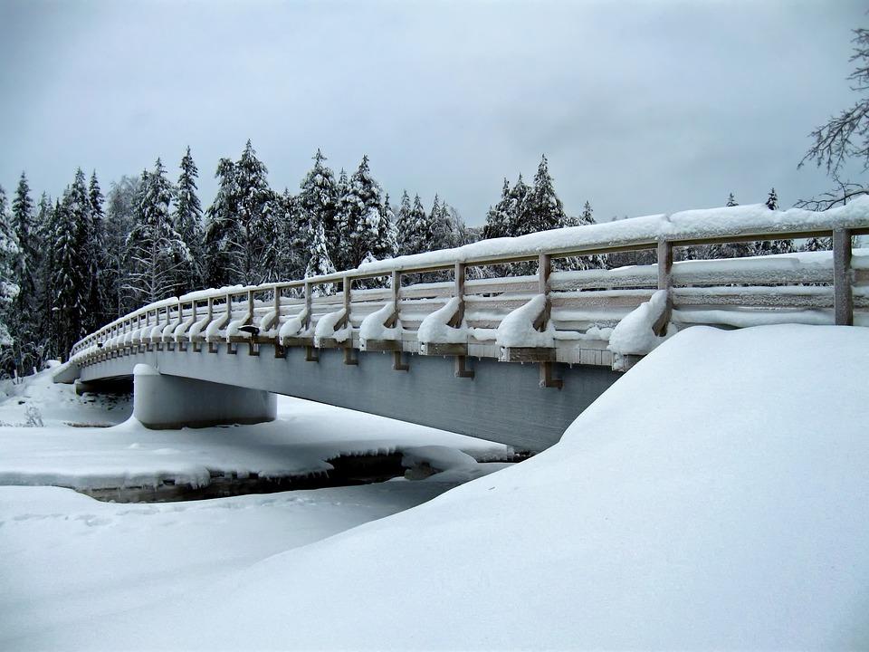Finland, Bridge, Stream, River, Water, Architecture