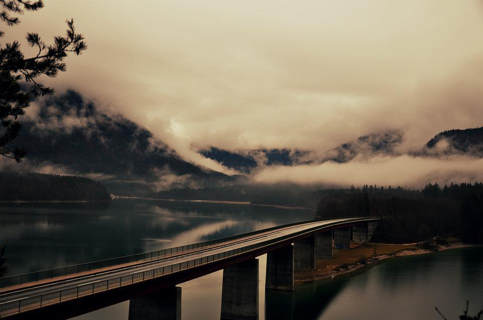 Road, Lake, Bridge, Sylvensteinspeicher, Gloomy