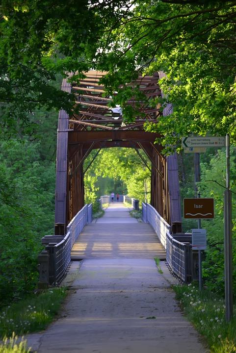Bridge, Road, Landscape, Rails, Old, Iron, Isar