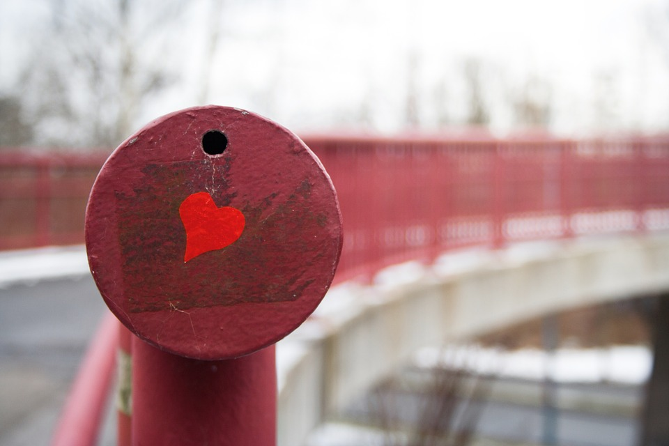 City, Nature, Heart, Love, Stone, Bridge, Romantic, Red