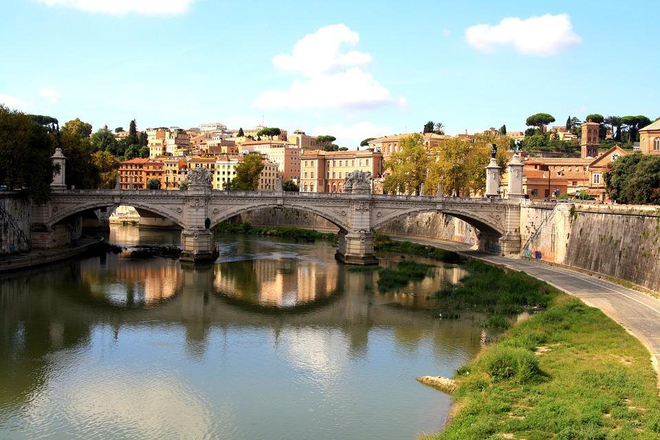 Bridge, Picturesque, River, Water, Rome, City, Romantic