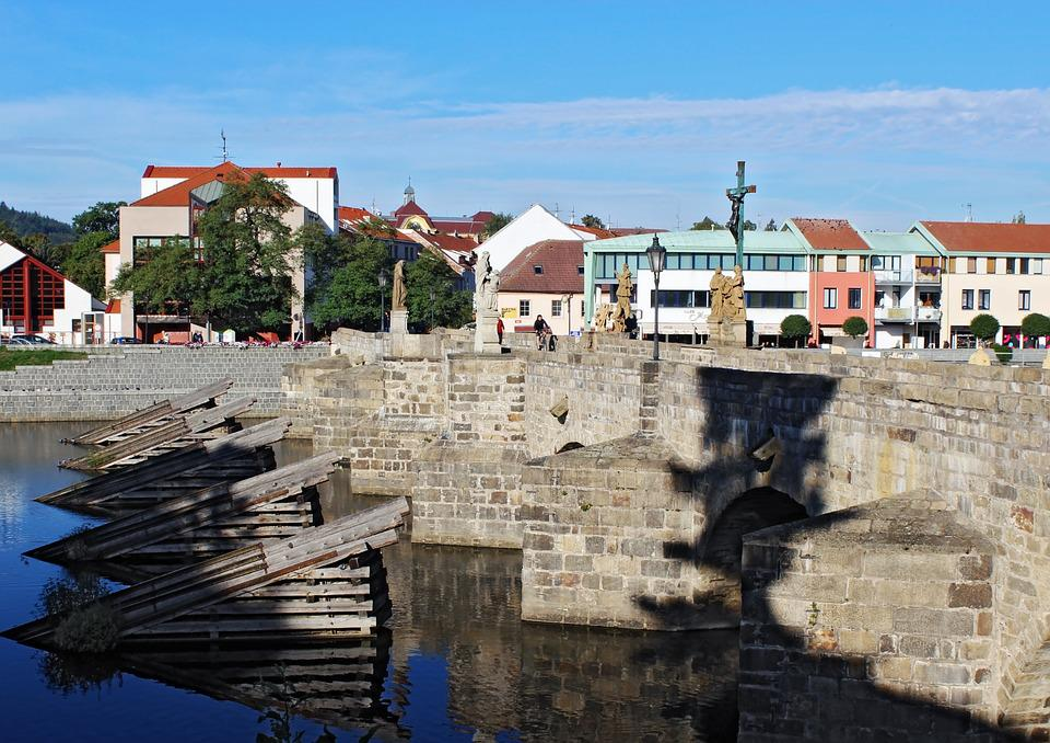 City, Sand, Bridge, River, Water