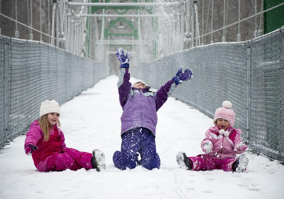Girls, Snow, Play, Bridge, Sisters, Child, Fun, Outdoor