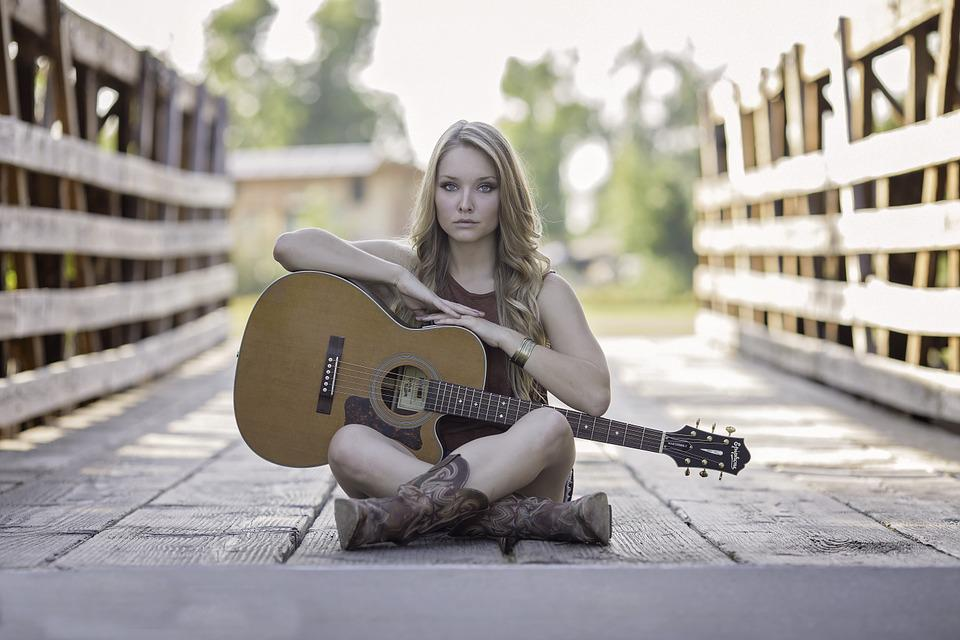 Woman, Guitar, Bridge, Sitting, Acoustic Guitar, Girl