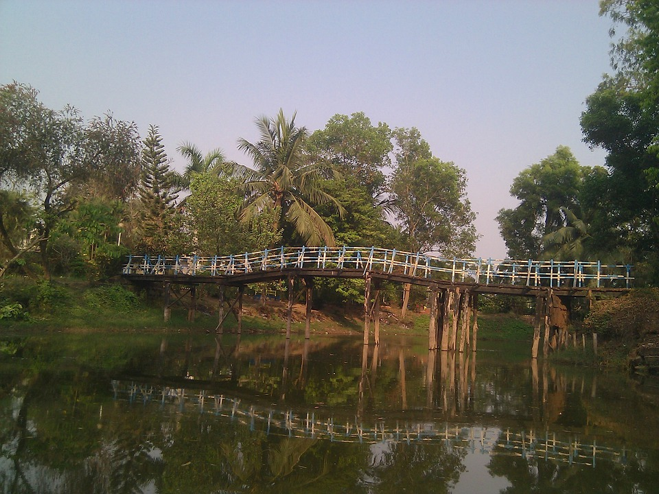 India, Sky, Clouds, Bridge, Scenic, Trees, Stream