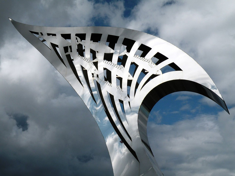 metal fish art sky bridge sculpture
