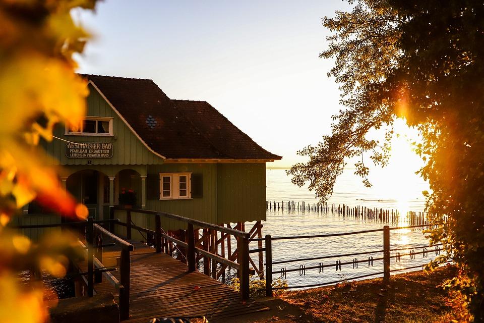 House, Lake, Sunset, Reflection, Trees, Bridge