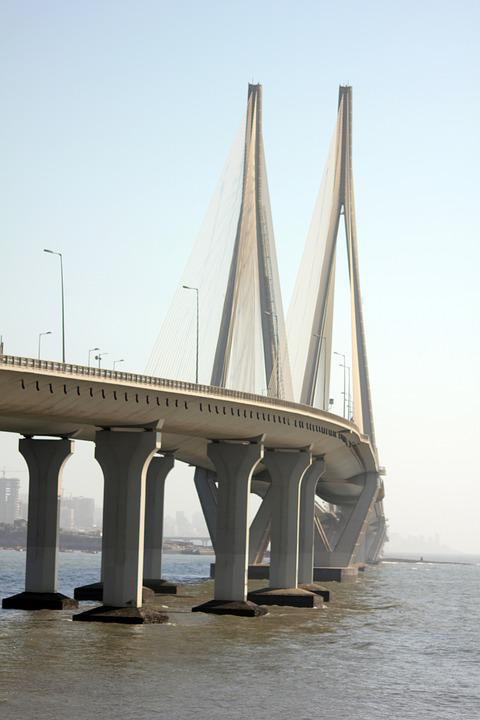 Suspension Bridge, Mumbai, Bridge, Sea