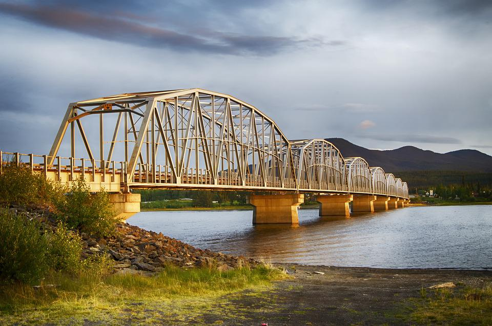 Yukon, Teslin River, Bridge, Infrastructure, Highway