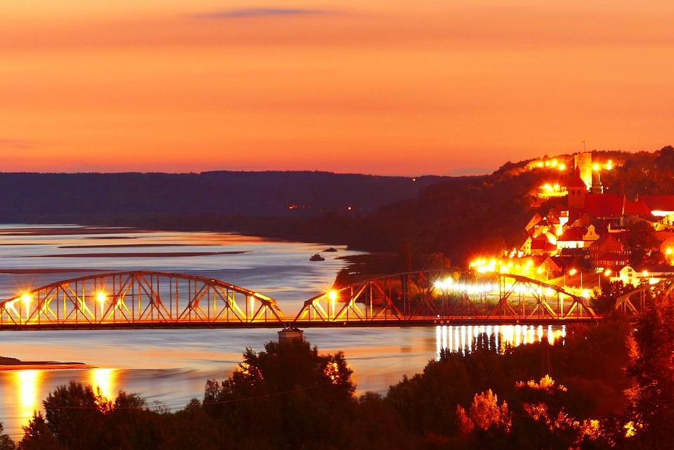 Sunset, Landscape, River, Bridge, The Wave Is Reflected