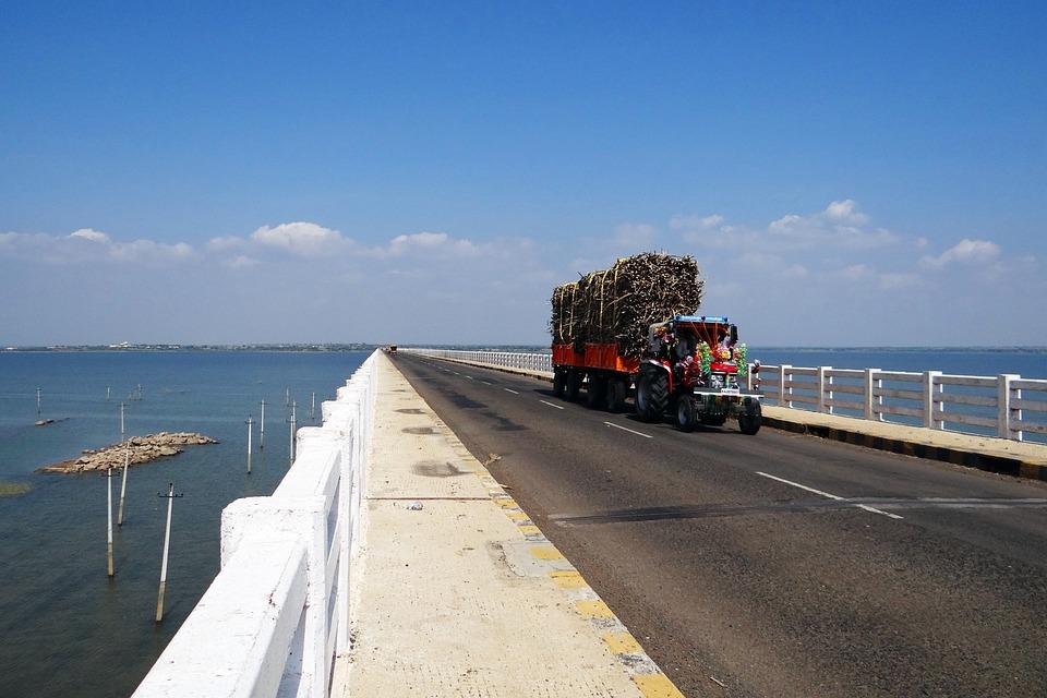 Krishna River, Bridge, Tractor, Trailer, Sugarcane